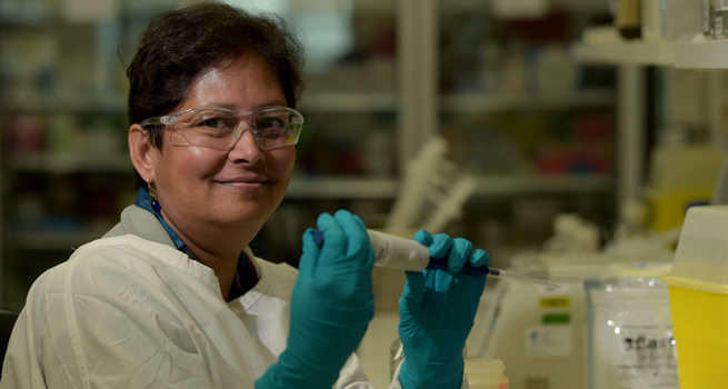 Professor Kanta Subbarao is the Director of the Melbourne World Health Organisation Collaborating Centres for Reference and Research on Influenza. Picture: Paul Burston/University of Melbourne