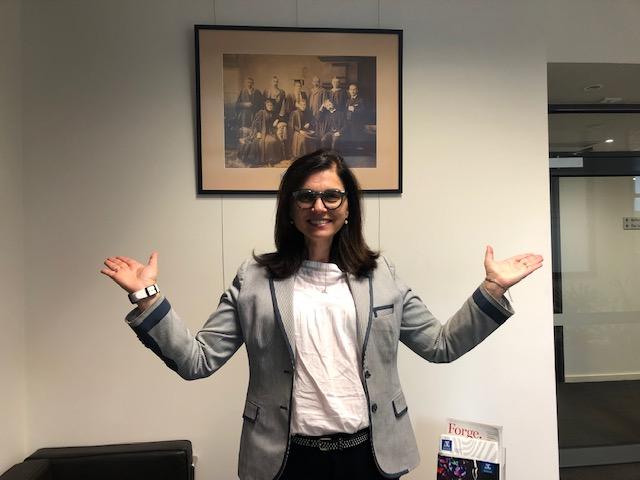 Professor Fabienne Mackay striking the #BalanceforBetter pose