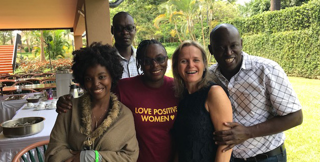 From left to Right Lillian (Tanzania), Maureen (Kenya), Sharon and Godfrey (Kenya) attending the Advocates Academy for HIV Cure Research. The two-day retreat was held just out of Kampala and was funded by the International AIDS Society in partnership with AVAC, a New York-based organisation dedicated to Global Advocacy for HIV Prevention. The IAS and AVAC are committed to building expertise and a deeper understanding of HIV cure in communities affected by HIV.