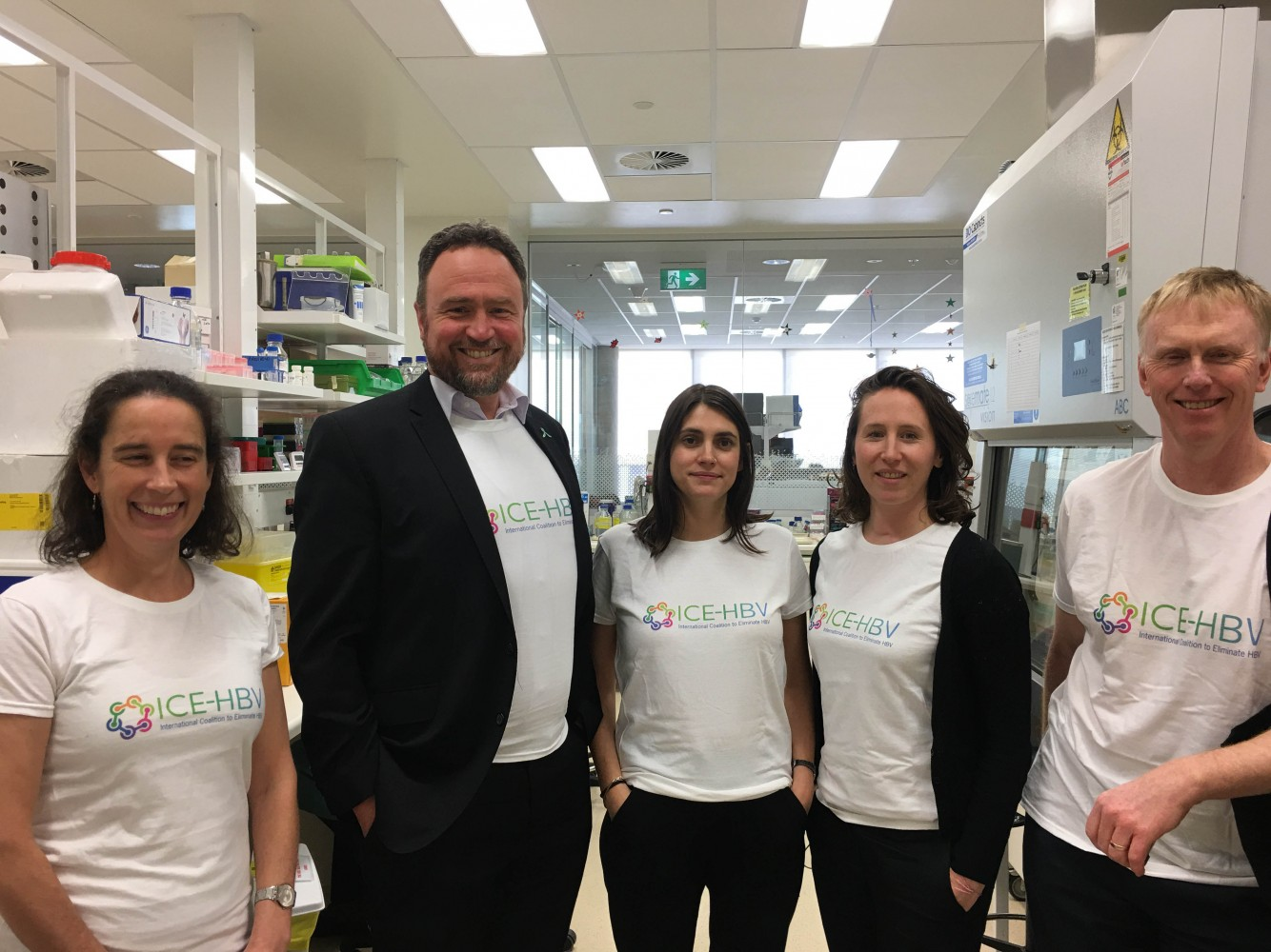 Hepatitis researchers at the Doherty Institute celebrating the launch of ICE-HBV